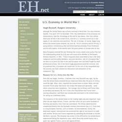 U.S. Economy in World War I