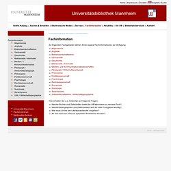 UB Mannheim -Fachinformation