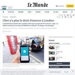 Uber n'a plus le droit d'exercer àLondres