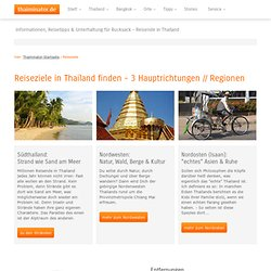 Orte und Übersichtskarte: Reiseziele in Thailand