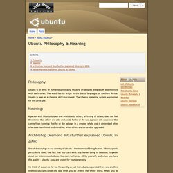 Ubuntu Philosophy & Meaning - Ubuntu