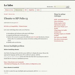 Ubuntu vs HP Folio 13 - Le labo