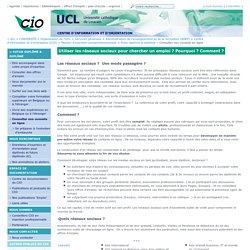 Utiliser les réseaux sociaux pour chercher un emploi ? - UCL