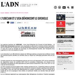 Actualités - L'UDECAM et l'UDA dénoncent le Grenelle