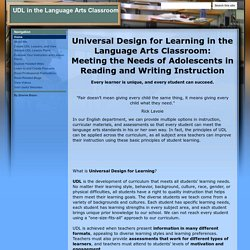 UDL in the Language Arts Classroom