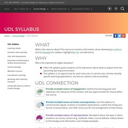 UDL On Campus: UDL Syllabus