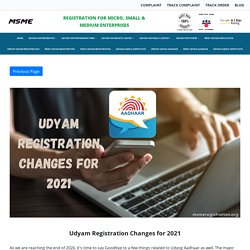 Udyam Registration Changes for 2021