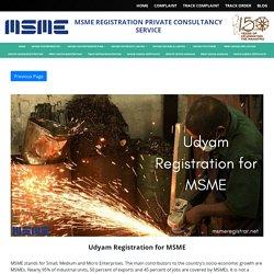 Udyam Registration for MSME - MSME Registration