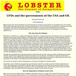 UFOs and the governments of the USA and UK