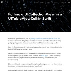 Putting a UICollectionView in a UITableViewCell in Swift - Ash Furrow