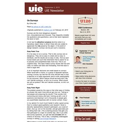 UIE Newsletter - On Surveys