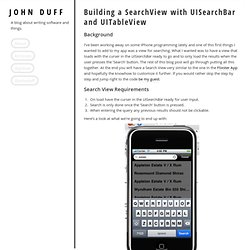 John Duff - Building a SearchView with UISearchBar and UITableView