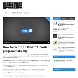 How to create an On/Off UISwitch programmatically