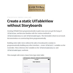 Create a static UITableView without Storyboards