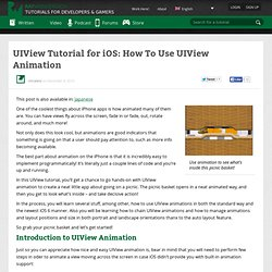 UIView Tutorial for iOS: How To Use UIView Animation