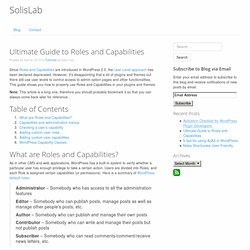 Ultimate Guide to Roles and Capabilities » SolisLab