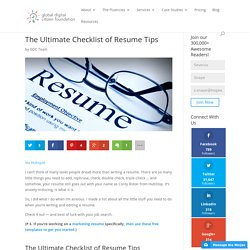 The Ultimate Checklist of Resume Tips