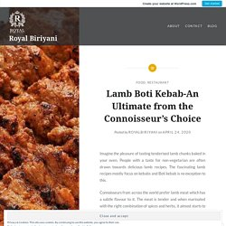 Lamb Boti Kebab-An Ultimate from the Connoisseur's Choice