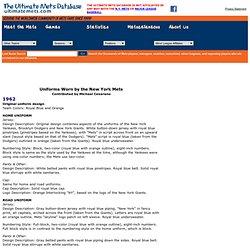 Ultimate Mets Database - Mets Uniform History