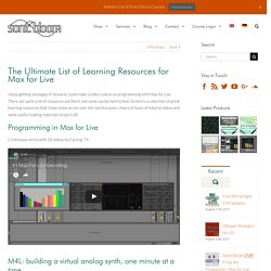 The Ultimate List of Learning Resources for Max for Live