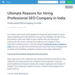 Ultimate Reasons for Hiring Professional SEO Company in India