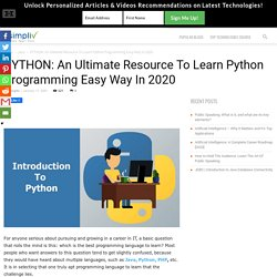 PYTHON: An Ultimate Resource To Learn Python Programming Easy Way In 2020 - Simpliv Blog
