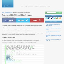 Master your CSS3! Ultimate CSS code snippets
