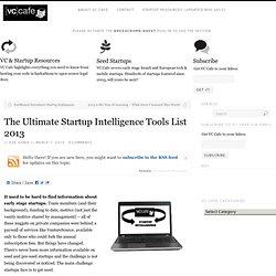 The Ultimate Startup Intelligence Tools List 2013
