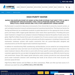 High Purity Water Purification
