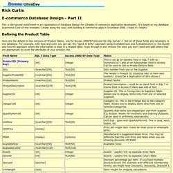 Extreme Ultradev - E-Commmerce Database Design Part II