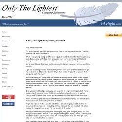 3-Day Ultralight Backpacking Gearlist