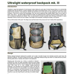 Ultralight waterproof backpack mk. III