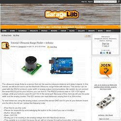 Tutorial: Ultrasonic Range Finder + Arduino - GarageLab (arduino, electronics, robotics, hacking)