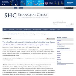 The role of lung ultrasound in the diagnosis of interstitial lung disease - Falcetta - Shanghai Chest