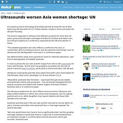 Ultrasounds worsen Asia women shortage: UN