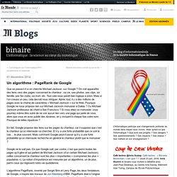 Un algorithme : PageRank de Google