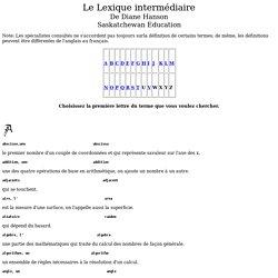 Un Lexique de Mathématiques