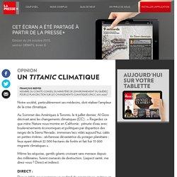 Un «Titanic» climatique