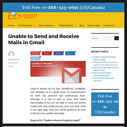Unable to Send and Receive Mails in Gmail – Email Customer Care