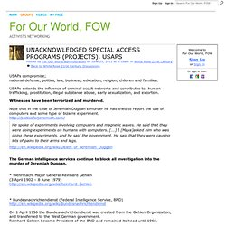 USAPs : Unacknowledged Special Access Programs (Projects) - For Our World, FOW