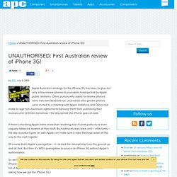 UNAUTHORISED: First Australian review of iPhone 3G!
