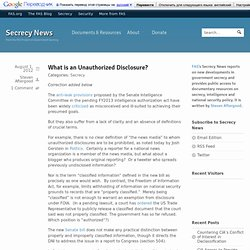 What is an Unauthorized Disclosure?