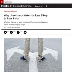 Why Uncertainty Makes Us Less Likely to Take Risks