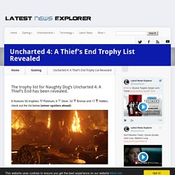 Uncharted 4: A Thief's End Trophy List Revealed