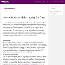OnWebG Blog Bite - How to find and claim money for free?