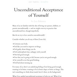 Unconditional Acceptance of Yourself