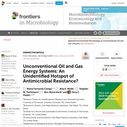FRONT. MICROBIOL. 18/10/19 Unconventional Oil and Gas Energy Systems: An Unidentified Hotspot of Antimicrobial Resistance?