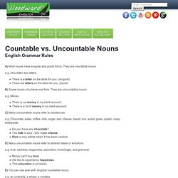 Countable Uncountable Nouns Difference - Sustantivos Contables