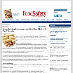 FOOD SAFETY MAGAZINE 07/04/15 Undeclared Allergens Account for Over Half of Q1 Food Recalls