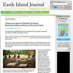 Undercover Agents Infiltrated Tar Sands Resistance Camp to Break up Planned Protest